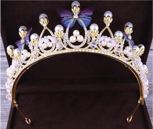 2020 novo design barato bling bling set coroas borboleta pérolas cristal de cristal jóias acessórios casamento tiaras headpieces cabelo
