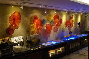 Blown Glass Art Wall Plates Murano Glass Wall Decorative Plates Turkey Design Colored Murano Glass LED Wall Sconce