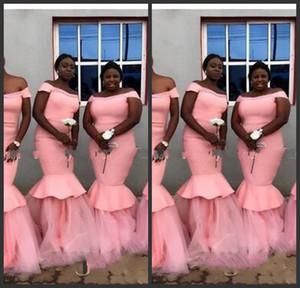 2020 de l'épaule Mermaid Robes de demoiselle d'honneur Robe noble africaine Honor Robe De La robe de promotion pour femme Satin et Tulle Robe d'invité de mariage