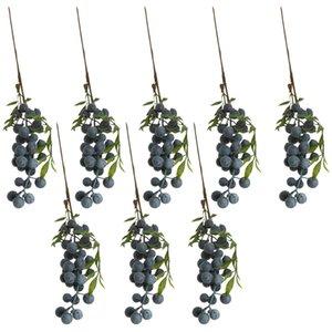 8 Pieces Artificial Lifelike Plant Fruit Berries Branches Stem Wedding Venue Bouquet Decor Props Blueberry