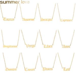 Hecho a mano personalizado Inglés antiguo del zodiaco collares de encargo del oro Collar inicial para las mujeres de chicas regalos de cumpleaños joyas joyería