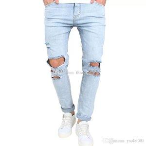 New Mens Designer Jeans Fashion Distressed Zipper Ripped Jeans Mens Designer Skinny Biker Pants SKy Blue Hip Hop Denim Pants