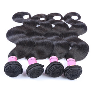 Brazilian Virgin Hair 3 Bundles Remy Human Hair Wefts Body Wave Peruvian Weave Color 1B Ombre Human Hair Weave Extensions