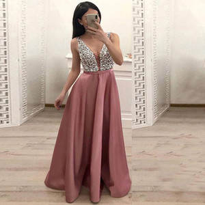 Evening dress summer hot style foreign trade women's deep v-neck sleeveless party dress sexy cultivate one's morality