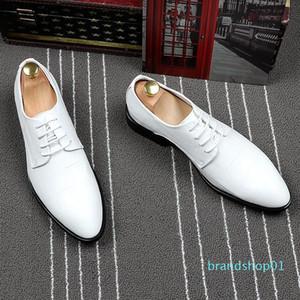 Fairy2019 Sharp uomo in pelle bianca Chalaza commerciali gli affari Casual Inghilterra Trend Maschile scarpe Hairstyle Division Aumentare Scarpe