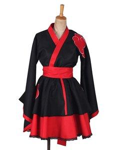 Naruto Shippuden Akatsuki Organização Lolita Kimono Vestido Traje Cosplay