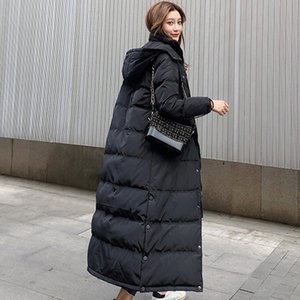Winter Women's Warm Jacket Coat Winter Long Thick White Duck Down Jacket Woman Hooded and Parka Long Puffer fz3742
