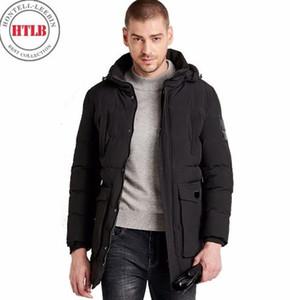 HTLB erkek Aşırı Soğuk Kış Uzun Kapüşonlu Biyo Aşağı Ceketler Parkas Erkekler Rahat Termal Kalın Katı Dış Giyim Parkas Mont Erkek
