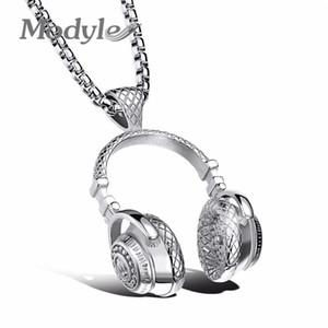 Modyle Fashion Design Hombre Joyería Puck Style Box Link Link 316L Acero Música Carnaval Auriculares Collar para Hombres