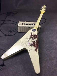Rare 1976 James Hetfield von Metallica Kill 'Em All Olympic White Schweren Relic Flying V E-Gitarre, Copy EMG Pickup, ABR Kleine Pin-Brücke