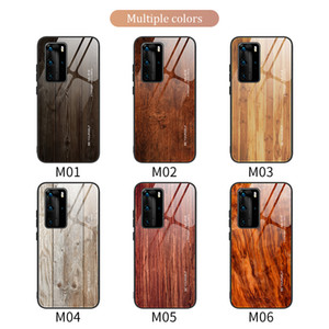 Wood Grain Phone Case For Huawei P20 P30 P40 Mate 30 Pro P Smart 2019 Z Honor 10 Lite 20 Tempered Glass Cover