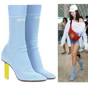 CXJYWMJL Sexy Sockenstricken Stretch Mode Schuhe Neue Frühlings-Herbst-Absatz-Frauen-Stiefel 6857 LY191224