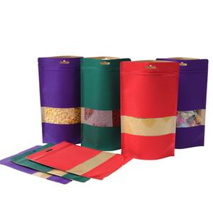 3 Colors zipper Kraft Paper Window Bag Empty Dried Food Fruit Tea Gift packaging Self Sealing Zipper Stand up Bags