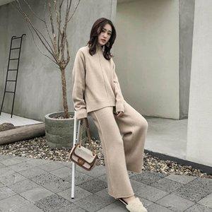 Knitting Female Sweater Pantsuit für Frauen Zweiteiler gestrickter Pullover mit V-Ausschnitt Lange SleeveTop Wide Leg Pants Anzug
