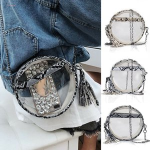 2020 Newest Hot Womens Cute Snake Skin Clear Purse Shoulder Circular Handbag Tote Messenger Satchel Bags Cross Body Bags