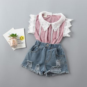 Wholesale 2-7 years girl clothing sets 2020 new summer casual Dot bow kid children girl clothing shirt+demin pant 2pcs