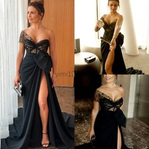 Black Mermaid Evening Dresses One Shoulder Thigh-High Slits Sweep Train Big Bow Draped Illusion Beads Long Formal Women Prom Party Gowns