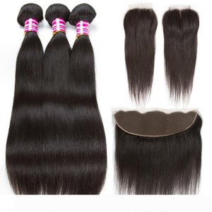 A Cheap Brazilian Straight Human Hair Bundles With Closure 10A Virgin Hair Wefts With Frontal Straight Natural Color Weaves Hair Extens
