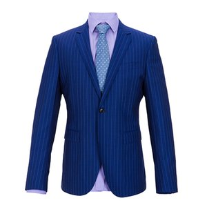 Bespoke 100% wool Navy blue Man Suits With White Striped Groom Tuxedos Groomsman Suit Business Suit Tailored Wedding Suit