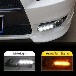 2 개 12V 자동차 LED DRL 주간 미쓰비시 랜서 EX 2009 2010 2011 2012 2013 2014 안개 램프 빛 케이스를 실행