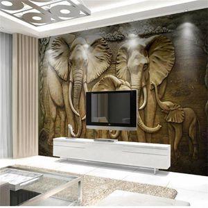 özel boyut 3d fotoğraf kağıdı oturma odası yatak odası çocuk odası duvar altın kabartma fil resim kanepe TV zemin duvar kağıdı duvar sticker
