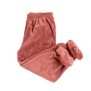 Señora color sólido elástico de la cintura del lazo del tobillo Warm corales paño grueso y suave pijama de los pantalones del tobillo Corbata Caliente corales Fleece pantalones de pijama Trou