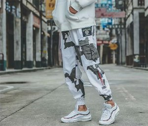 Fashion Camouflage Cargo Pants Male Embroidery Panelled Pants Fitness Men Ins Drawstring Trousers Hip Pop Clothing