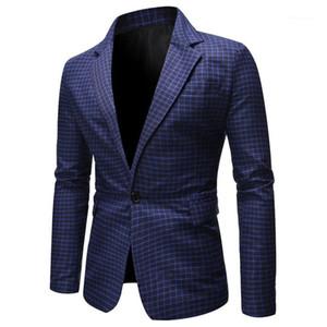 Abrigos casual hombres ropa tela escocesa de impresión del diseñador del Mens Blazers Moda con paneles solo botón de negocios del caballero formal