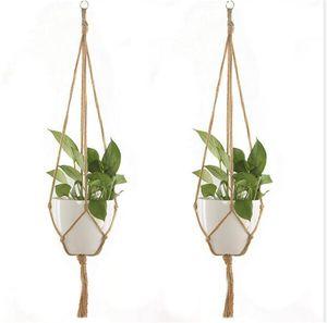 Corde de chanvre nouveau pot tressé pot de plante verte pot de fleur suspendu corde panier armure à la main