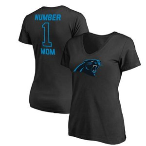 Frauen Carolina Mothers Day Panthers Pro Line Royal # 1 Mom V-Neck T-Shirt Geschenk für Mutter Freies Verschiffen
