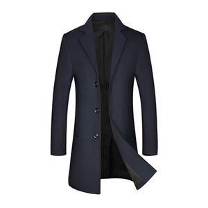 New Men's Wool Pea Coat Winter Male Casual Business Long Wool Coat Men Trench Brand Overcoat Clothing