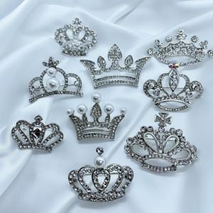 Multistyle Frauen Strass Crown Brosche Gold Silber Bling Bling Imperial Crown Brosche Anzug Revers Pin Geschenk für die Liebe