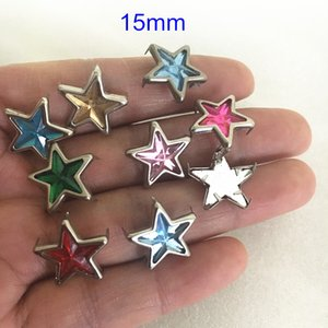 200pcs 15mm Silver Star Frame Acrylic Star In Middle Rivet Studs,Punk DIY Claw Rivet,4 Claws,Different colors,Clothing deco
