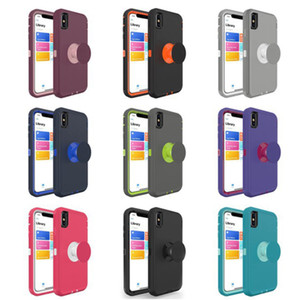 수비수 홀더 전화 케이스 내장 킥 스탠드 3 in 1 Shockproof Protector for iPhone X XS XR XS Max 6 7 8 plus