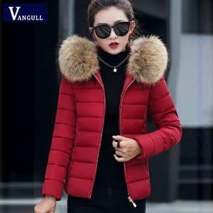 Vangull Women Winter Parkas Coat Plus Size Chaquetas gruesas con capucha de manga larga sólida 2019 Otoño Nueva cremallera cuello de piel prendas de vestir exteriores