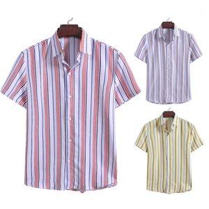 Рубашки с коротким рукавом Лоскутная цвета Повседневный Turn воротник моды Рубашки Полосатый Print Designer Mens
