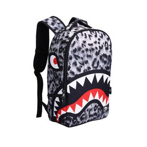 chicos jóvenes bolsa de hombro doble estudiantes de la escuela media bolsa de viaje mochila temporada fría la escuela de tiburón niñas mochila de moda