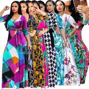 Mulheres Bohemian vestidos 13styles Floral férias praia Maxi 1/2 manga Andar de comprimento roupas sexy verão Lady plus size v-pescoço vestido de L-JJA2471