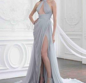 2020 без рукавов Jewel платье выпускного вечера шифон рябить Ruched Side Split Вечернее платье Runway моды платье