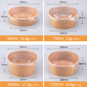 Factory Wholesale Kraft Paper Salad Bowl Take Away Food Container 500ml 750ml 1000ml 1300ml with PET PP Lid