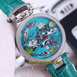 Nueva alta calidad Bovet 1822 Amadeo Fleurie 3D Koi Lotus Dial correa de cuarzo suizo para mujer para hombre del reloj del diamante del bisel unisex de cuero Relojes