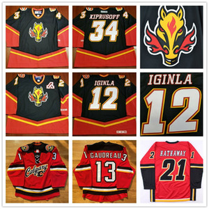 Personalizado Calgary Flames 13 Johnny Gaudreau 12 Jarome Iginla 34 Miikka Kiprusoff 21 Garnet Hathaway Vintage CCM Hockey Cabeça de cavalo Jerseys