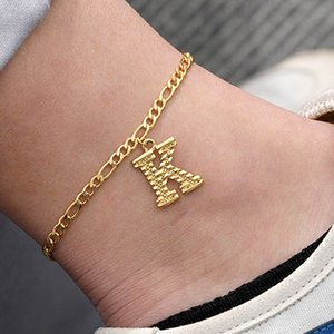 Gold Color Initial Anklets Bracelets For Women Girls Stainless Steel Alphabet Ankle Bracelet A-Z Letter Leg Chain Foot Jewelry free ups dhl