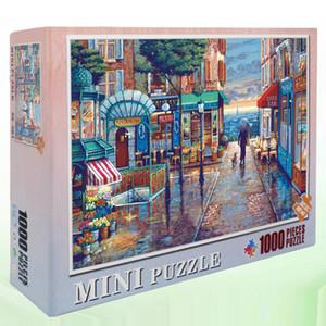 Hommat quebra-cabeças para Puzzle Adultos Crianças 1000 Pieces Europa Paris Cidade chuvoso Rua Passeio Um cão da paisagem de Brinquedos Educativos T200421