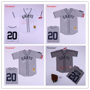 Throwback Jersey Herren Greys 20 Josh GIBSON Baseballtrikot Homestead Negro League Baseballtrikots von hoher Qualität