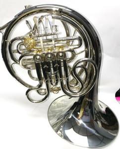 En gros 4 clés Double corne française Argent Laque F / Bb corps en laiton avec étui Livraison gratuite
