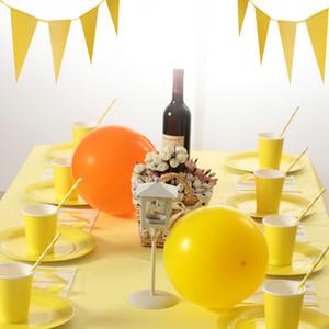 Juego de vajilla desechable para fiestas Platos de color sólido Tazas Tenedor de paja Cuchillo Cuchara Servilleta Kit para decoraciones de cumpleaños 38 8ds E1