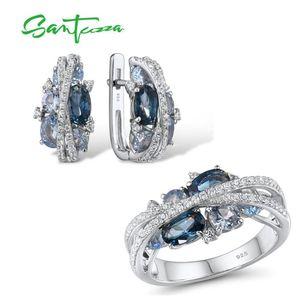 SANTUZZA Genuine 925 Silver Jewelry Set For Women Sparkling Blue Spinel Earrings Ring Set Delicate Luxury Party Fine Jewelry CX200623