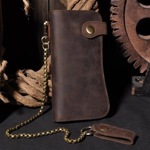Men'S Vintage Crazy Horse Leather Chain Wallet Genuine Leather Bifold Long Wallet Snap Card Holder Purse Zipper Coin Pocket