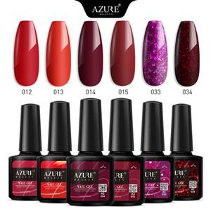 Красота 6Pcs / Lot красного цвета серии лак для ногтей Soak Off Nail Art Led Гель лак Semi Постоянный гель с блестками польский